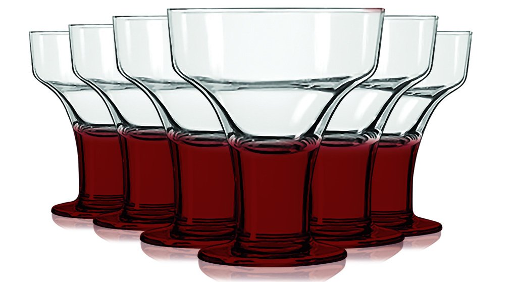 Libbey Red Margarita/Dessert Glasses with Colored Accent - 12 oz. Set of 6- Additional Vibrant Colors Available by TableTop King by TableTop King