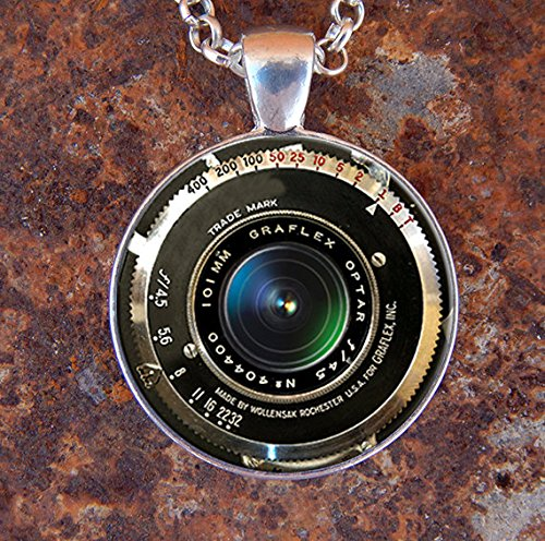Jewelry tycoon® VINTAGE CAMERA PENDANT Antique Camera Lens Pendant Gray Black White Photography Pendant Photographer Necklace Graflex Not An Actual Lens