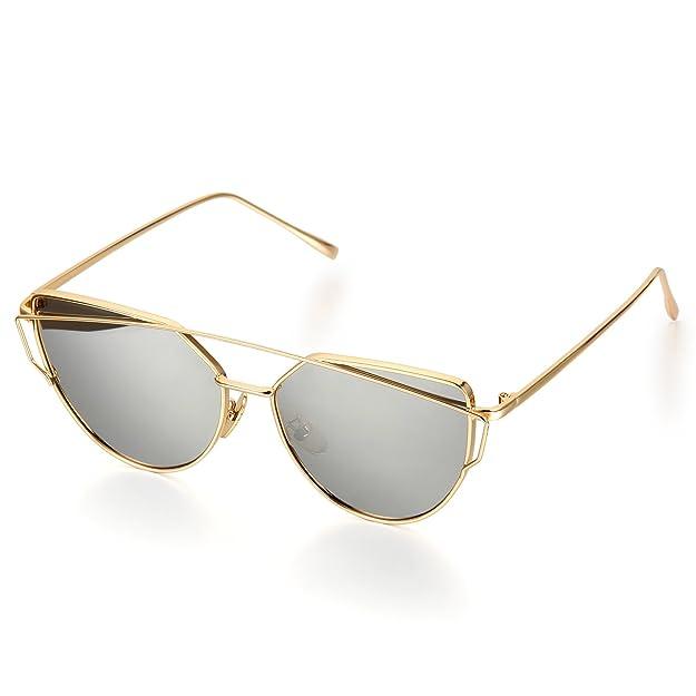Aroncent Twin-Träger Klassische Frauen Metallrahmen Spiegel Sonnenbrille, Grau Silber Schwarz