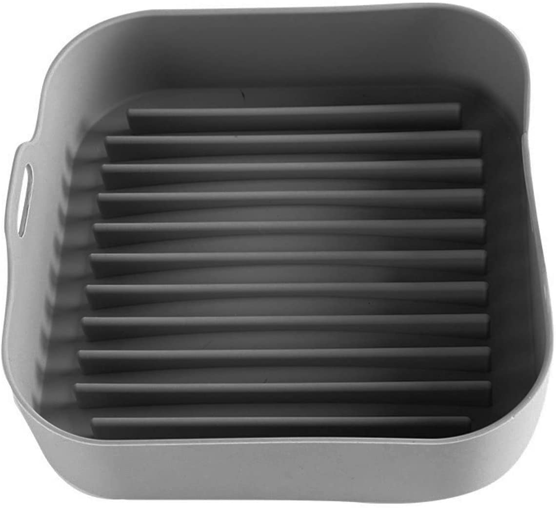 Air Fryer Silicone Pot, Replacement for Paper Liners, 8.7x8.7inch Square Silicone Air Fryer Basket, Silicone Bowl For Air Fryer Oven Accessories, No More Harsh Cleaning