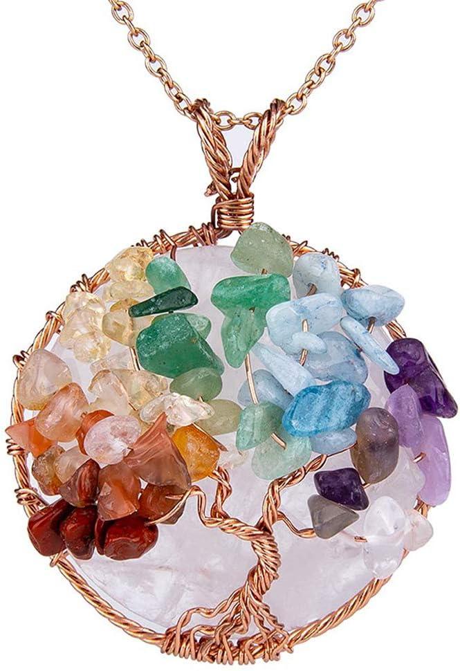 NICEWL Collar de Árbol de La Vida de Chakra de Amatistas,Envoltura de Alambre de Piedras Preciosas Naturales,Gargantilla con Colgante Redondo de Cristal Curativo para Mujer,E