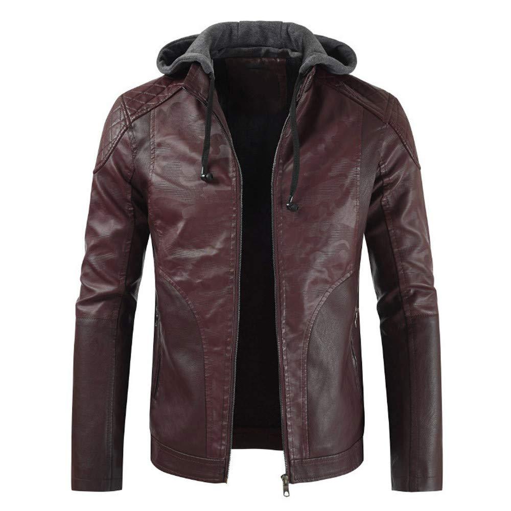 Buby Mens Motobiker Zipper Jackets Coats Mens New Slae Long Sleeve PU Leather Hooded Hoody Tops Hoodies Outwear Warm Fleece Motorcycle Coats for Outdoor Sportswear