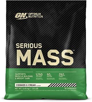Optimum Nutrition Serious Mass Proteina en Polvo, Mass Gainer Alto en Proteína, con Vitaminas, Creatina y Glutamina, Galletas y Crema, 16 Porciones, ...