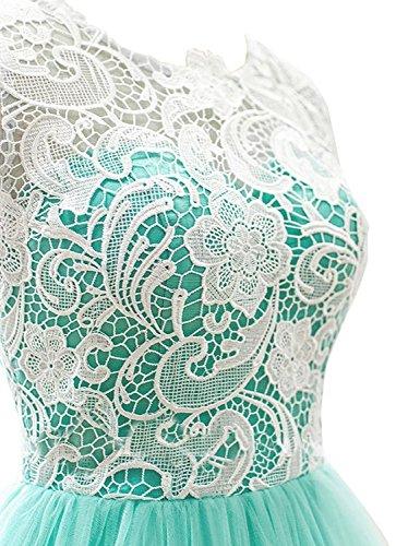 Tüll Brautjungfernkleider Minze Festkleider Damen Kurz Abendkleider Ballkleider Linie A qTtP00