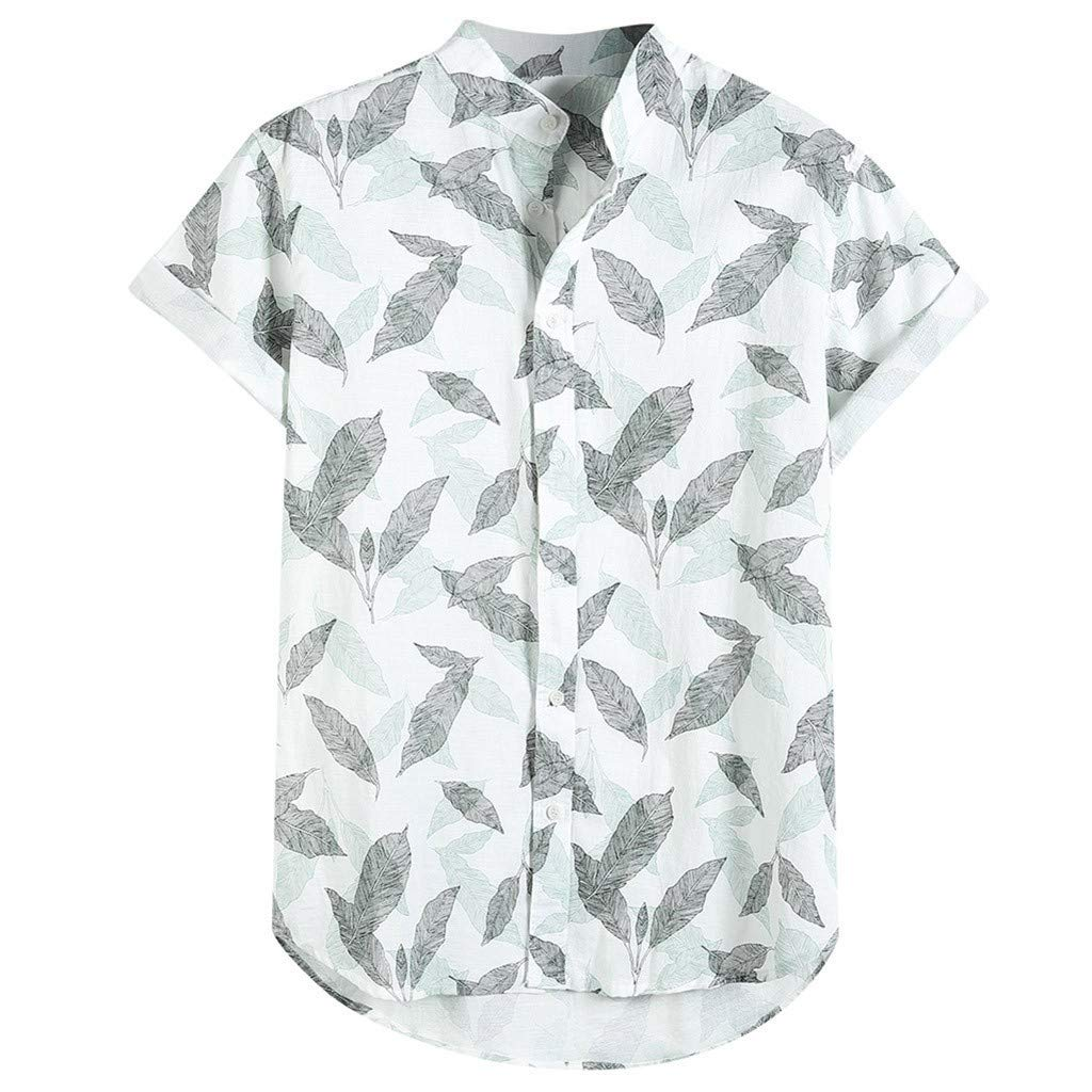 Beautyfine Mens Short Sleeve Casual Shirts Buttons Loose Printed Hawaiian T Shirt