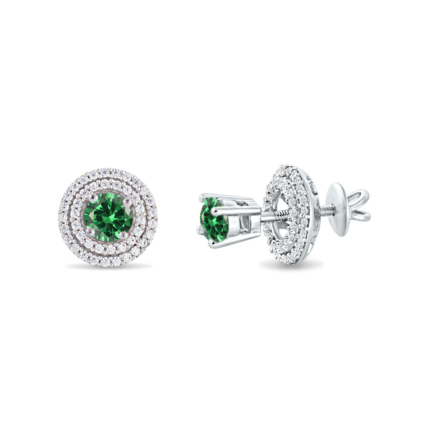 created-emerald, white-gold-plated-base Silver Dew Round Simulated Gemstone Halo Round Stud Earrings for Womens Girls in 14k White Gold Over