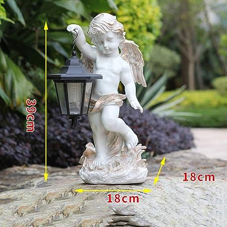 qwqqaq Solar Ligero Estatua,jardín Ángel Creativo Escultura Interiores Aire Libre Adornos De Arte Elegante Querubines Decoraciones De Jardín De Patio-c 18 * 18 * 39cm: Amazon.es: Hogar