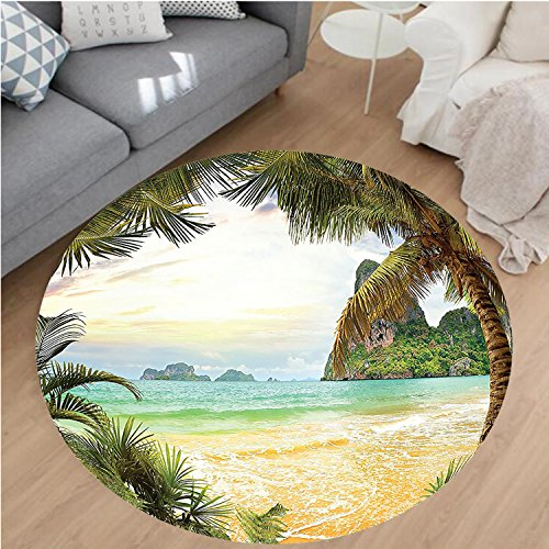 Nalahome Modern Flannel Microfiber Non-Slip Machine Washable Round Area Rug-t Trees and Ocean Waves across Mountains on Paradise Island Beach Image Green Brown Cream area rugs Home Decor-Round 75