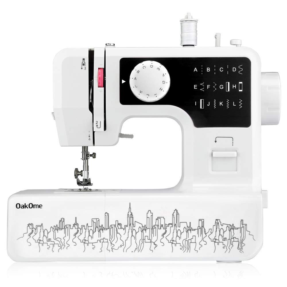 OAKOME Mini Máquina de Coser Automática Eléctrico de Doble Velocidad de Rosca Automática con Luz,Automatic Sewing Machine Eléctrico(Negro, ...