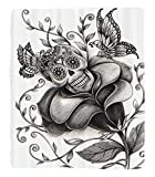 Chaoran 1 Fleece Blanket on Amazon Super Silky Soft All Season Super Plush Mexican Decorations Collection Artkull Day of the Dead Catholic Butterfly Rose Flower Holiday Culture Image Pattern Fabric et