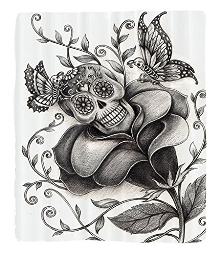 Chaoran 1 Fleece Blanket on Amazon Super Silky Soft All Season Super Plush Mexican Decorations Collection Artkull Day of the Dead Catholic Butterfly Rose Flower Holiday Culture Image Pattern Fabric et by chaoran