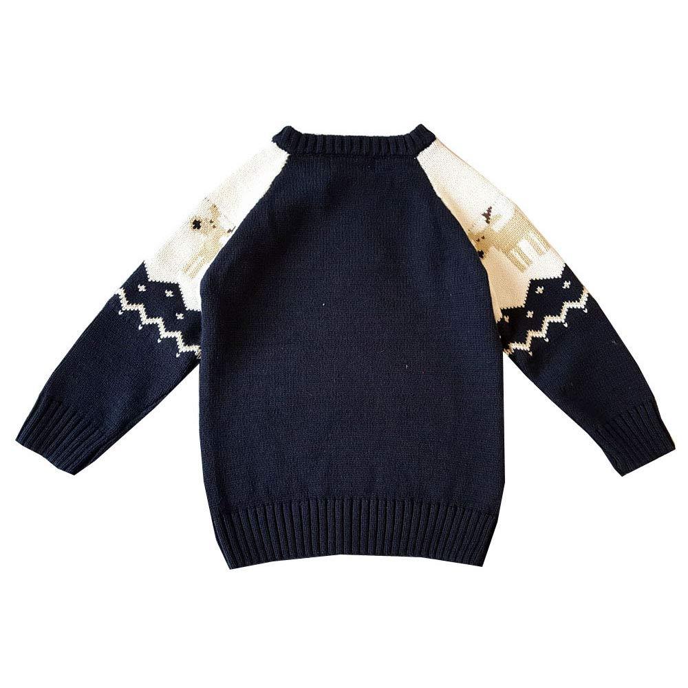 Mibuy Kinder Pullover Sweatshirt Weihnachten Elk Strickwaren Jumper Gestrickt Oberteile Langarmshirt Jungen M/ädchen Strickpullover Herbst Winter Kinderbekleidung