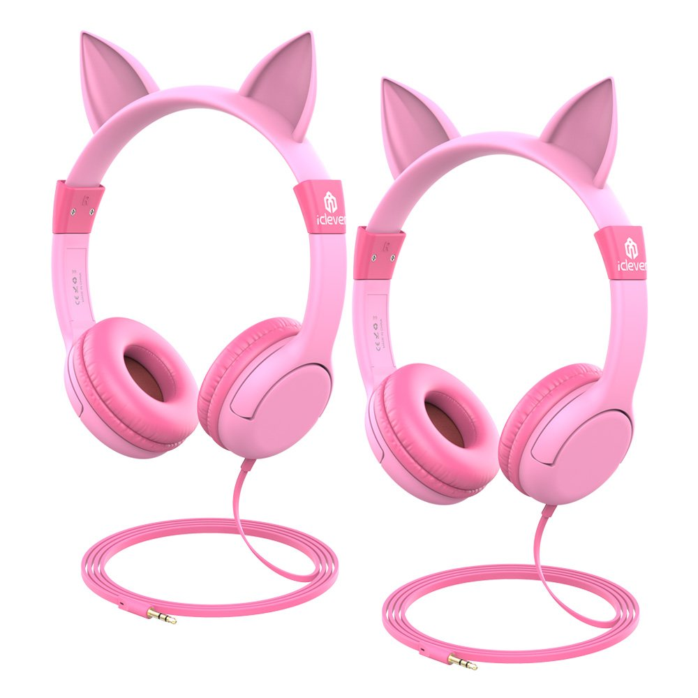 iClever HS01-2P kids headphones - Cat-Inspired On-ear Headphones for kids, 85dB Volume Control, Food Grade Silicone Lightweight Tangle-Free Cord, 3.5mm Audio Jack - Childrens Headphones, Pink - 2 Pack by iClever