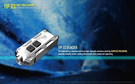 Nitecore Tip SS Keychain Flashlight -360 Lumens -CREE XP-G2 S3 LED (Glacier) w/Eco-Sensa USB Cord & Clip - - Amazon.com