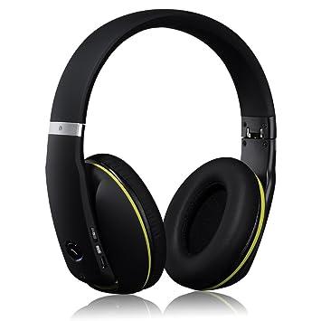Mpow® Muze Auriculares Inalámbricos con Bluetooth 4.0 Manos Libres y Tecnología de Reducción de Ruido, Jack 3.5mm, Color Negro, Nueva Versión: Amazon.es: ...