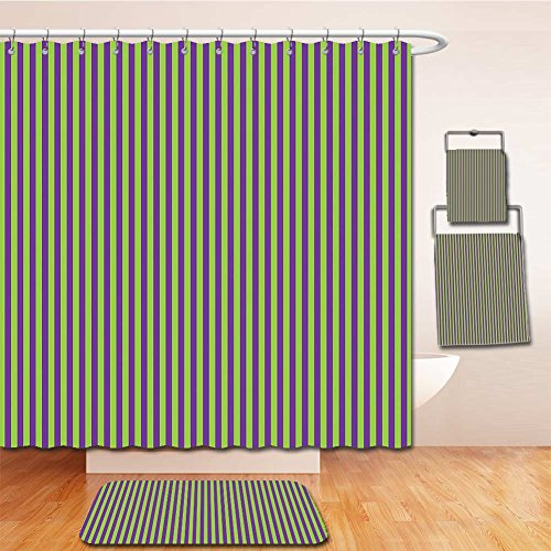 Beshowereb Bath Suit: Showercurtain Bathrug Bathtowel Handtowel Pop Art Decor Vintage Retro 50s 60s Style Bold Stripes Rooms Wallpaper Image Royal Blue and Lime Green (Glam Rock Decor)