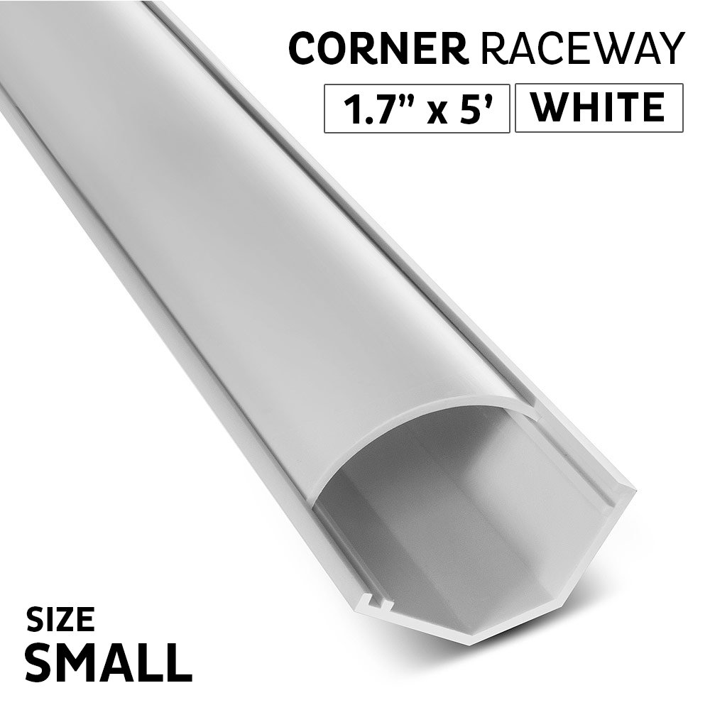 InstallerParts Small Corner Duct Cable Raceway - White - 1.69''x0.9'' - 5 Feet