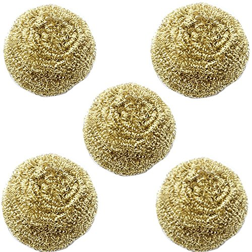 (Diagtree 5 packs Solder Tip Cleaning Wire Brass Sponge, Replacement Cleaning Copper Wire for Soldering Station Tip Cleaner interchangeable for for Metcal AC-BP, Hakko 599B, 599-029)