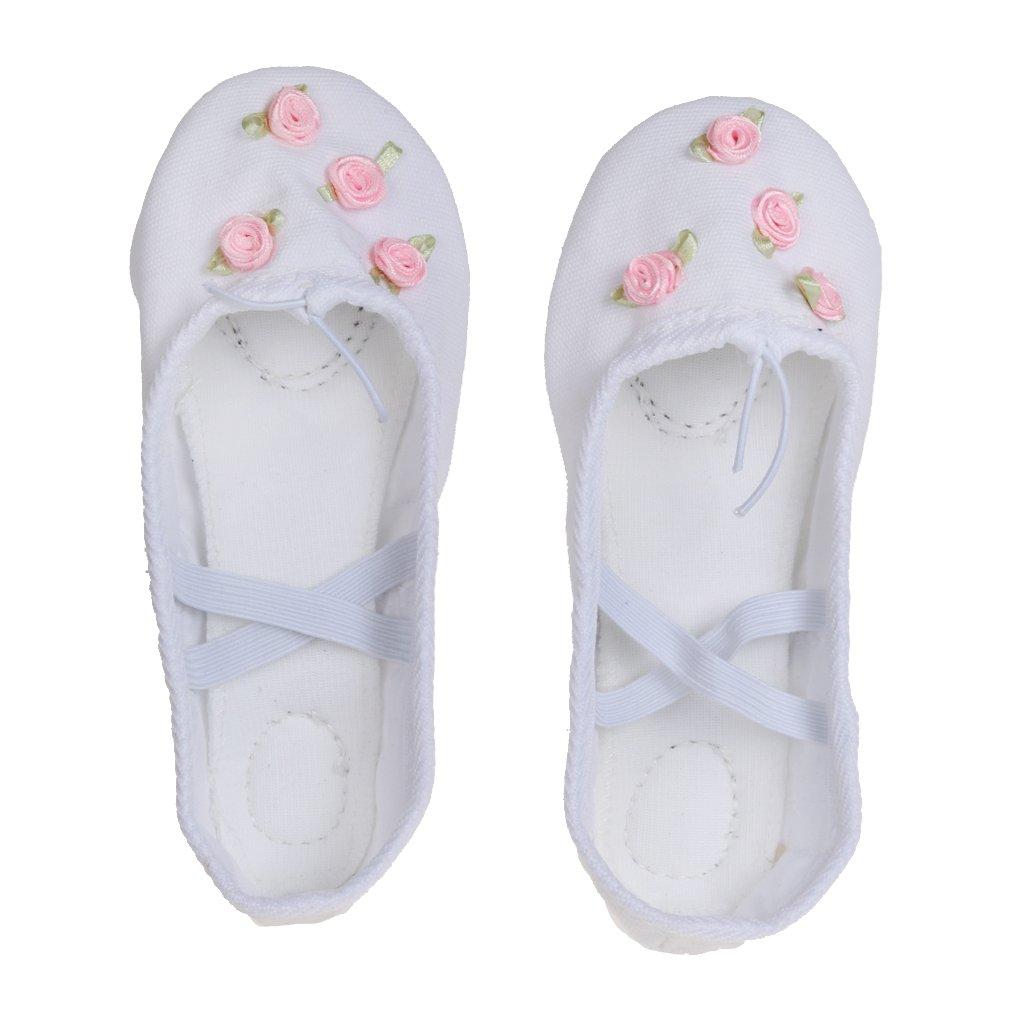 1 Par Bailarinas Blanco Zapatos De Ballet Danza Yoga Lona Del Cuero Partido Para Muchachas Niñas Generic