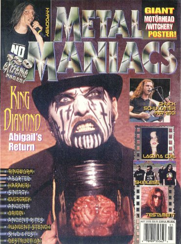 Metal Maniacs May 2002 King Diamond, Lacuna Coil, Testament, Hypocrisy, Chuck Schuldiner (Death), Skinless
