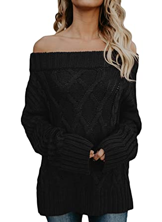 FIYOTE Womens Sexy Off Shoulder Long Sleeve Loose Cable Knit Sweater  Pullover Jumpers  Amazon.co.uk  Clothing 727bc7efa