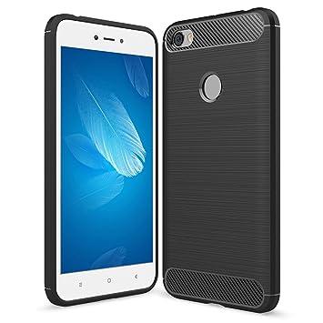 Funda Xiaomi Redmi Note 5A / Note 5A Prime, POOPHUNS Carcasa Xiaomi Redmi Note 5A / Note 5A Prime, Fibra de Carbono, Negro Silicona Fundas Carcasas ...