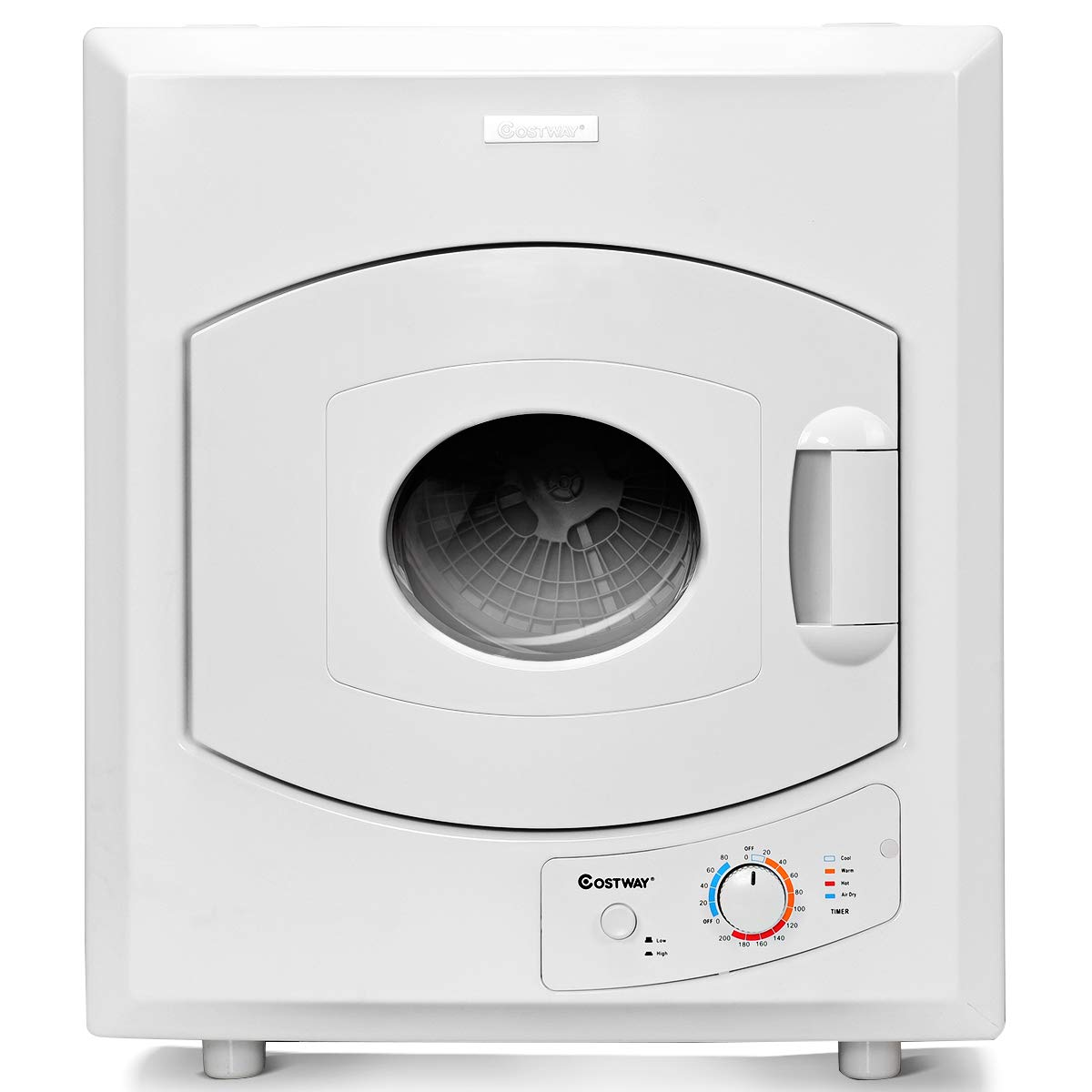 COSTWAY Electric Compact Laundry Dryer, 2.65 Cu.Ft Capacity Portable Tumble Clothes Dryer with Stainless Steel Tub, Control Panel Downside Easy Control for 4 Automatic Drying Mode, White by COSTWAY