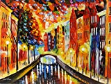 NIGHT AMSTERDAM is an Original Oil Painting on Canvas by Leonid Afremov. Image: 36 x 48. Gallery Retail is $10,500. The artwork is in perfect condition. It is an Original artwork. It is NOT a gicl'e or recreation of the original - Again, it is the OR...