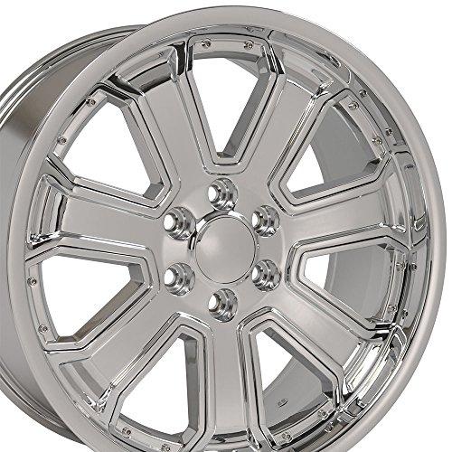 22×9.5 Wheel Fits GM Truck & SUV – Silverado Style DD Chrome Rim w/Chrome Insrt, Hollander 5661