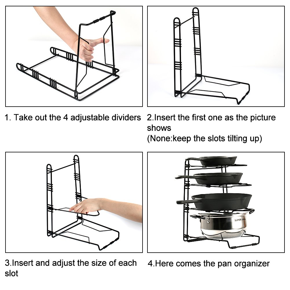Pans and Pots Rack Lids Holder Detachable Kitchen Cabinet Organizer Stand by jiebolang (Image #5)