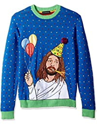 Men's Sad Jesus Bday Crew Neck Ugly Xmas
