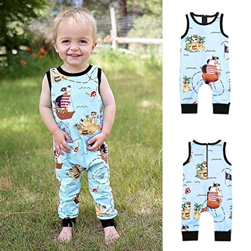 Infant Toddler Baby Boy Girls One Piece Romper Jumpsuit Cuekondy Cute Cartoon Pirate Print Zip Playsuit Summer Outfits Clothes (Blue, 3T)