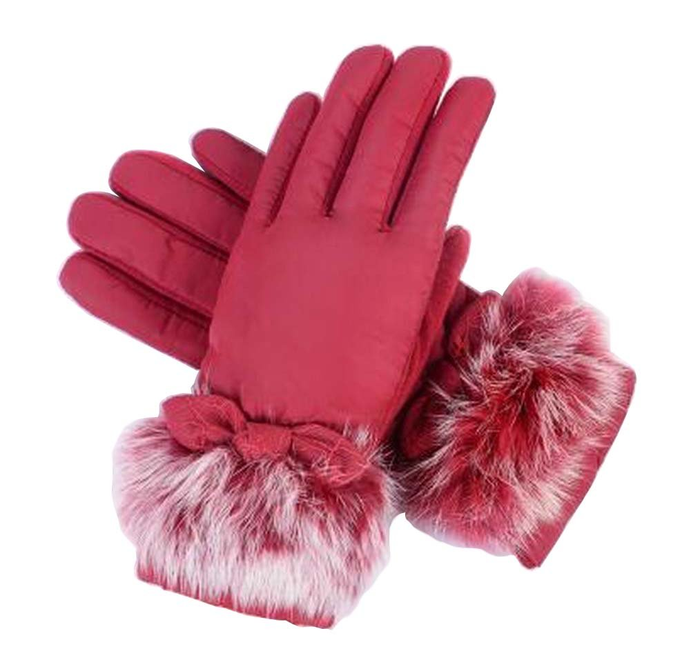 [Red-2] Woman Winter Thick Gloves Pretty Driving Gloves Skiing Gloves Black Temptation