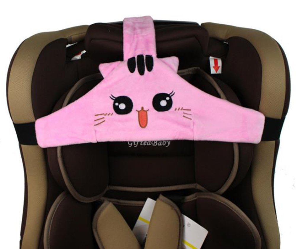 MINGZE Baby Child Car Seat Head Support, Car Safe and Cozy Sleep Positioner, Adjustable Safety Seat Fastening Belt, Safety Belt Protector Headrest Neck Support for Children Baby (Pink)