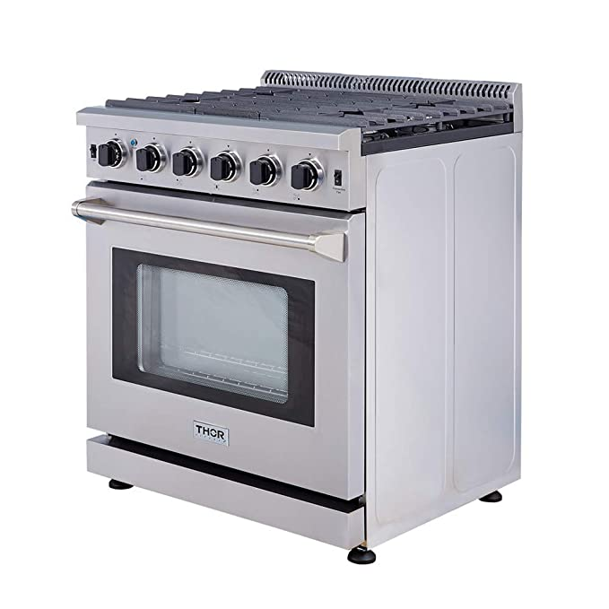 "Thor Kitchen 30"" Professional Style Stainless Steel Gas Range Oven with 5 Burner, LRG3001U"