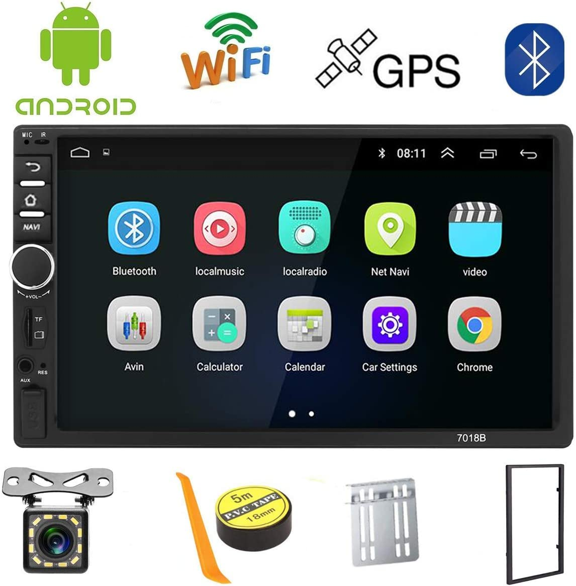 Android Doble Din Radio De Coche Navegacion GPS,7 Pulgadas Coche Reproductor MP5 USB/SD/AUX Entrada,Radios Para Coche Bluetooth,Radio FM,Enlace Espejo ,WiFi,con Cámara Trasera