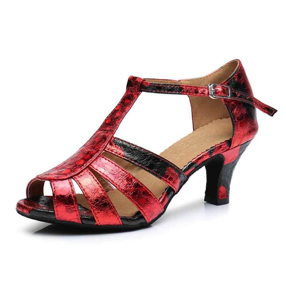 HCCY Weinrot Weinrot Weinrot Mode Persönlichkeit Adult Lady weichen Boden Hochhackige Indoor Latin Dance Schuhe Just Jazz d8877f