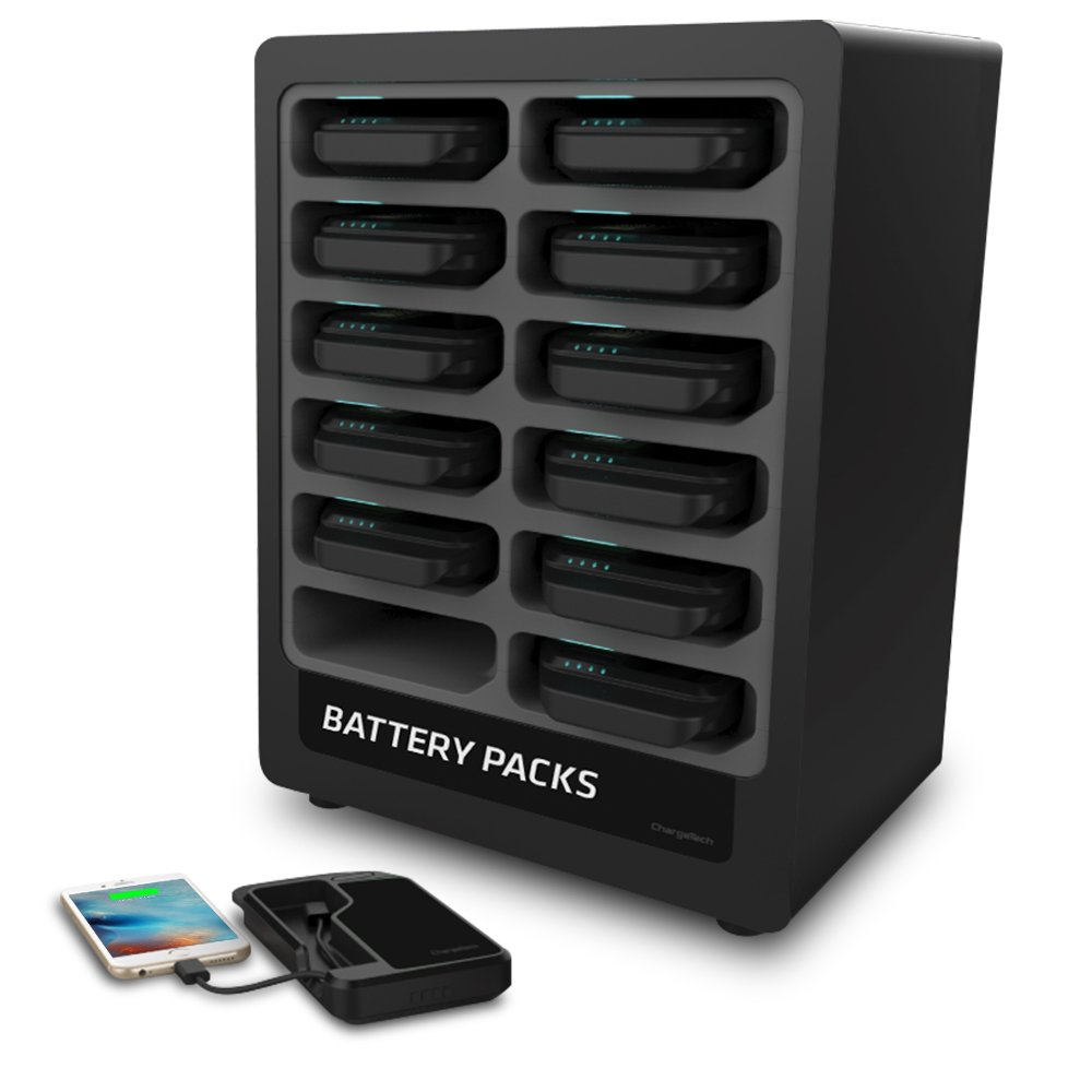ChargeTech - Battery Pack Dispenser Dock w/ 12 Rechargeable Power Banks and Universal Charging Cables for All Devices: iPhone, iPad, Android, Samsung, etc - Charging Station - (Model: PS12) [Black]