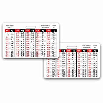 AmazonCom Weight Conversion Chart Pediatric Range Horizontal