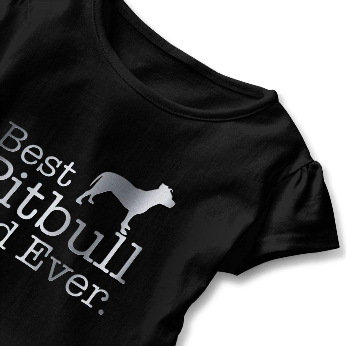 CZnuen Best Pitbull Dad Ever 2-6T Baby Girls Cotton Jersey Short Sleeve Ruffle Tee