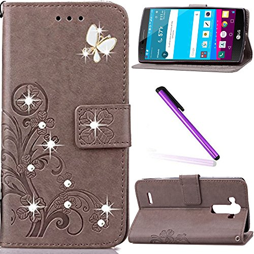 LG G4 Case LEECOCO Bling Crystal Diamonds Lucky Clover Floral with Card Cash Slots Wrist Strap Flip Kicktand PU Leather Wallet Case Cover for LG G4 Diamond Clover Gray