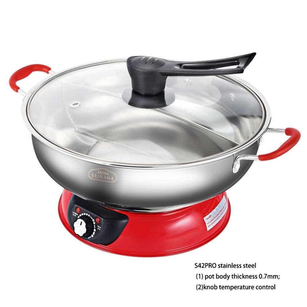 Hot Pot Shabu-shabu Electric Split Household Thickening 304 Stainless Steel Non-Stick Pan 5L Large Capacity, Stainless Steel, Electric Mongolian (Color : Red) by Hot Pot