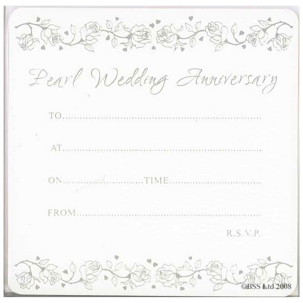 Pearl Wedding Anniversary Invitations - Pack of 10: Amazon.co.uk ...