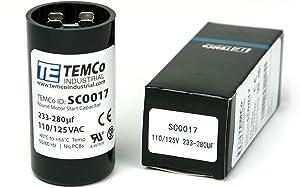 TEMCo 233-280 uf/MFD 110-125 VAC Volts Round Start Capacitor 50/60 Hz AC Electric - Lot -1