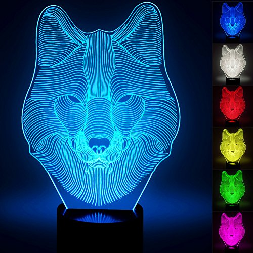 3D Wolf Lamp, Optical Illusion Night Light for Nursery / ...