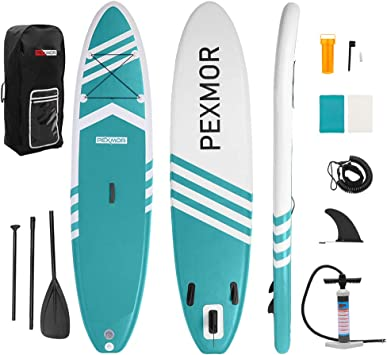PEXMOR Inflatable Stand Up Paddle Board for Fishing Yoga Paddle Boarding with Premium SUP Accessories & Carry Bag, Surf Control, Non-Slip Deck | Youth ...