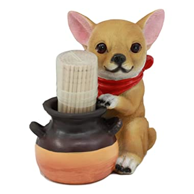Ebros Lifelike Chihuahua With Red Scarf And Pot Decorative Toothpick Holder Statue With Toothpicks 4  Tall Starter Kit Dog Kitchen Decor Figurine Collectible