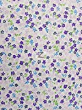 "PURPLE MINI FLOWER PRINT POLY COTTON FABRIC 58""/59"" WIDTH SOLD BY THE YARD (P270)"