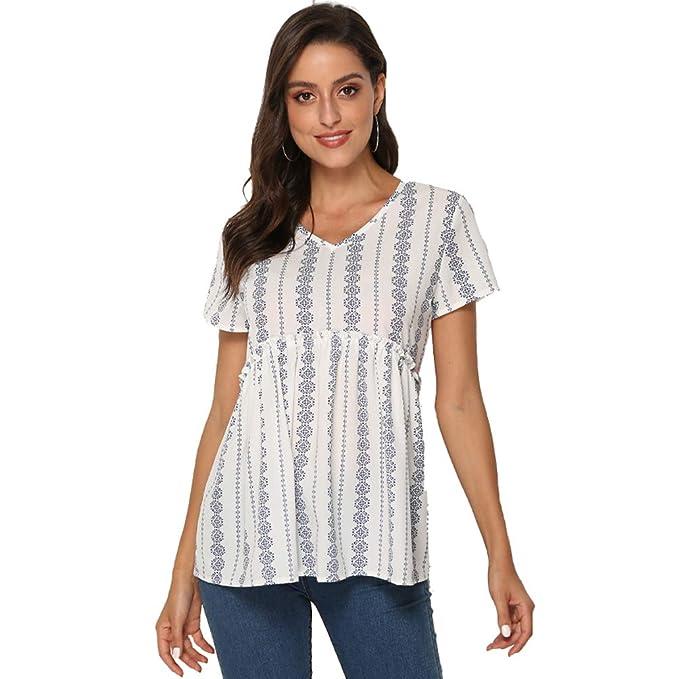 796d2cf727923c Nlife Women s Summer Floral Print Top V Neck Blouse Short Sleeve Tops  Peplum Blouse Shirt White
