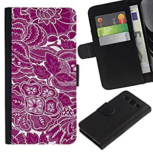 KLONGSHOP / Tirón de la caja Cartera de cuero con ranuras para tarjetas - Wallpaper Purple White Floral Flowers Art - Samsung Galaxy S3 III I9300